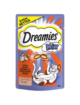 Dreamies Mix Cat Treats with Tasty Chicken & Delectable Duck