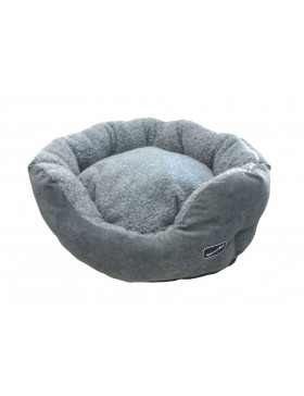 Hem & Boo padded oval cloud fleece beds grey