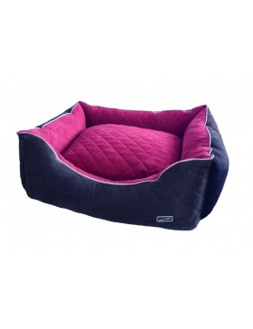 Hem & Boo quilted rectangle beds raspberry/black  Large