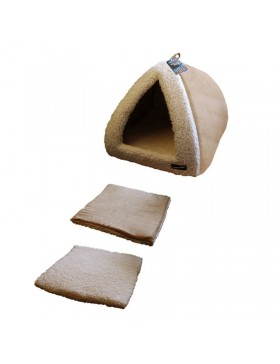 "Hem & Boo pryamid 16"" sand/ cream cat bed"