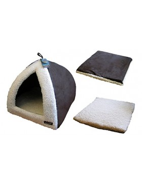 "Hem & Boo pryamid 16"" choc / cream cat bed"