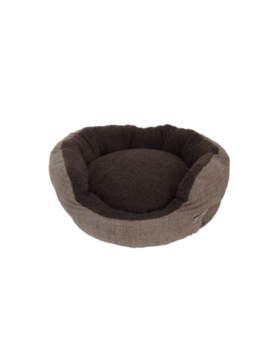 Hem & Boo padded oval cloud fleece beds brown